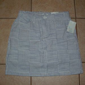 NEW Blue & White Striped Sz 6 Cotton Skort Pockets